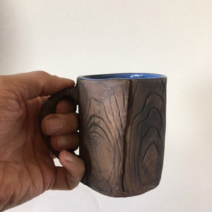 Faux Bois Mug with Blue Glaze
