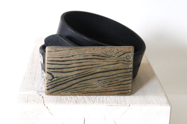 Ceramic Faux Bois Wood Grain Belt Buckle