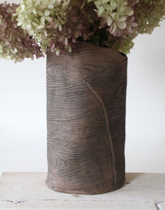 Large Brown Faux Bois Ceramic Vase
