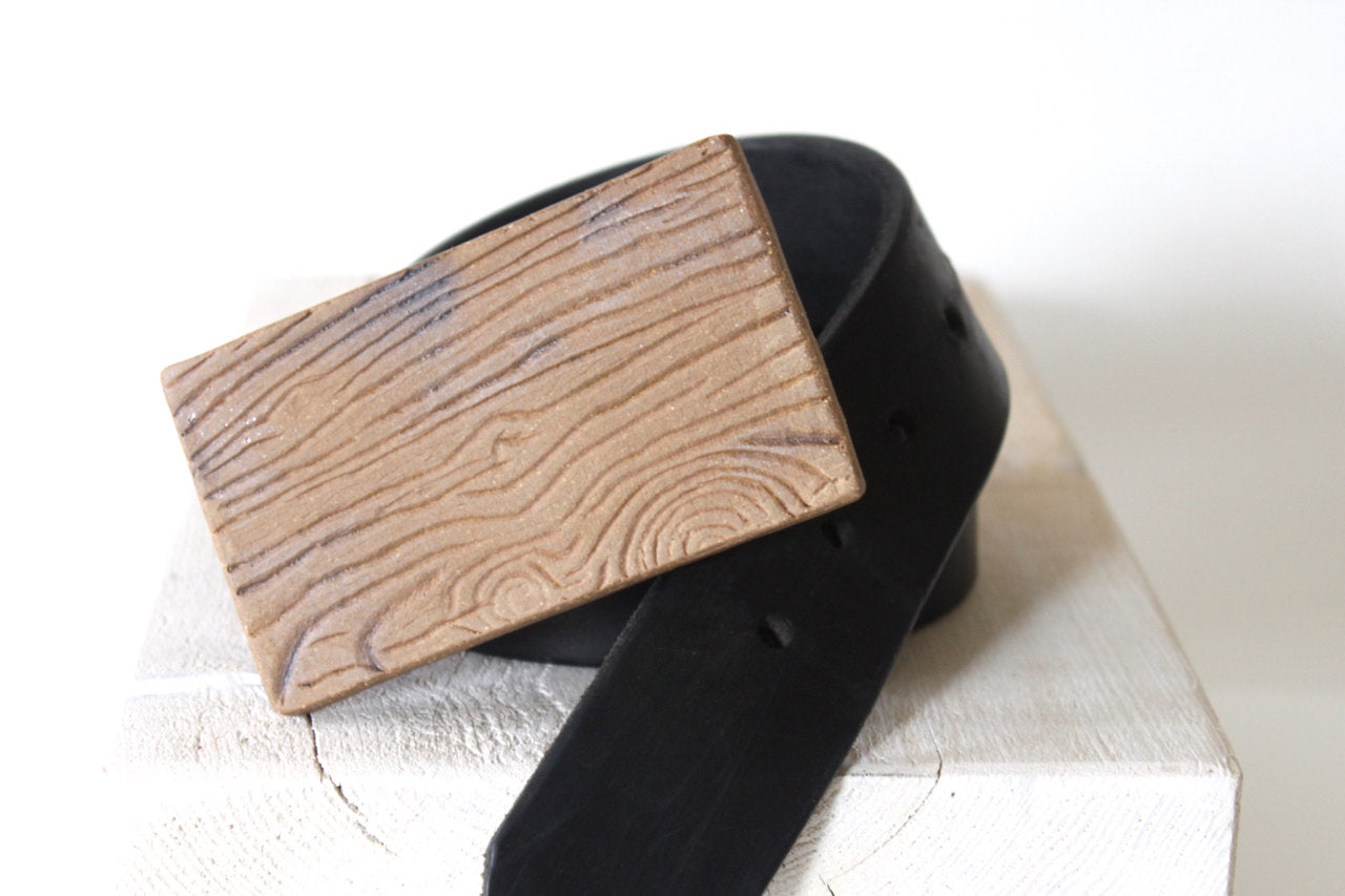 Handmade Ceramic Wood Grain Belt Buckle
