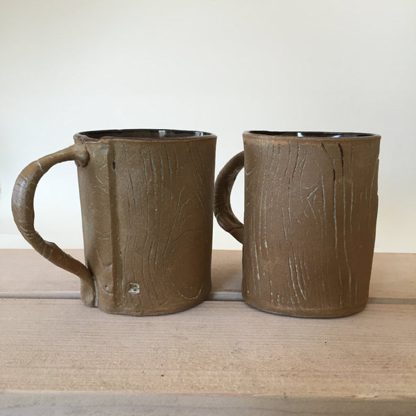 Faux Bois Mug with Red Brown Glaze