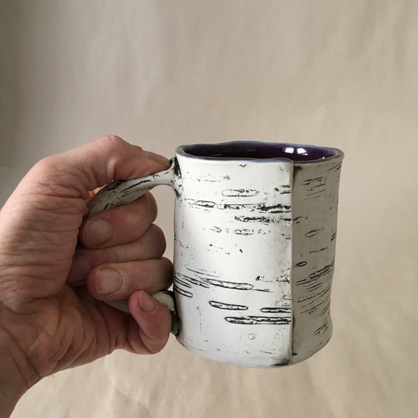 12oz Purple Faux Bois Birch Mug