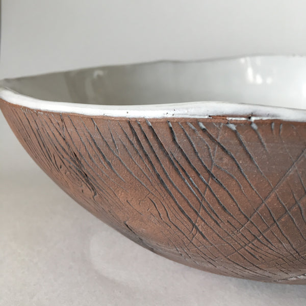 Large White Brown Faux Bois Bowl