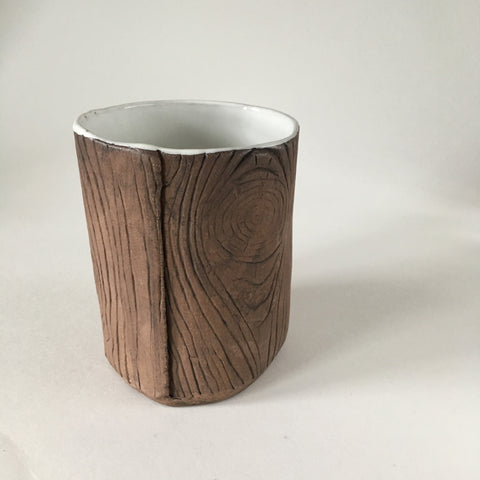 Faux Bois Tea Cup with White Glaze