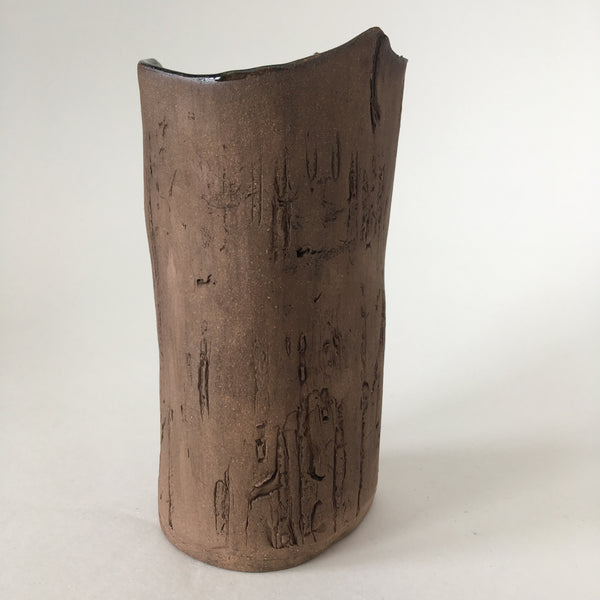 Brown Birch Faux Bois Ceramic Vase