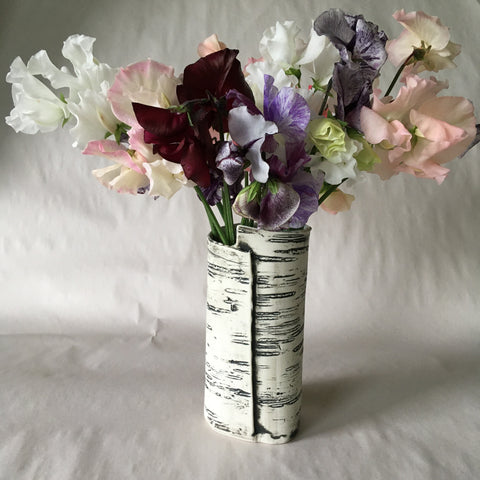Small Birch Faux Bois Ceramic Vase