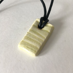 Faux Bois Wooden Yellow Shard Pendant Necklace