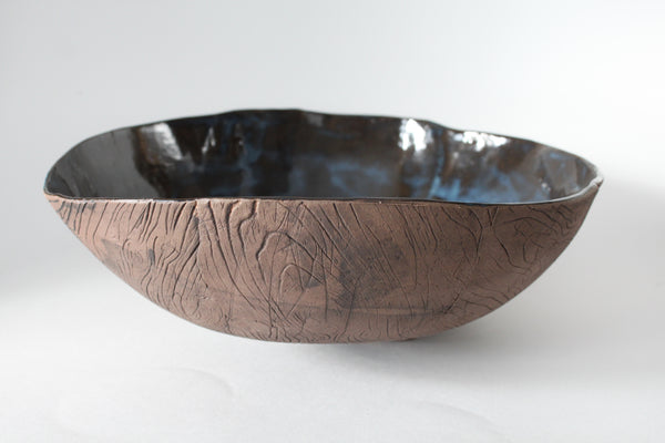 Large Mottled Blue and Brown Faux Bois Bowl