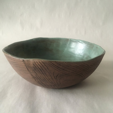 Green Faux Bois Salad Bowl