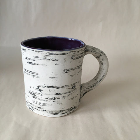 16oz Purple Faux Bois Birch Mug