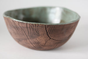 Green Faux Bois Soup Bowl