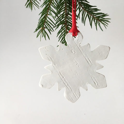 White Snowflake Birch Ornament