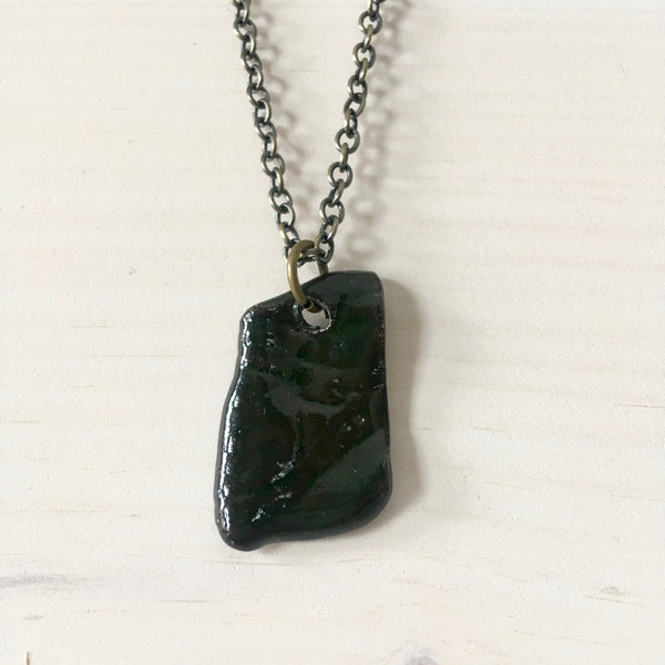 Forest Green Faux Bois Shard Pendant Necklace