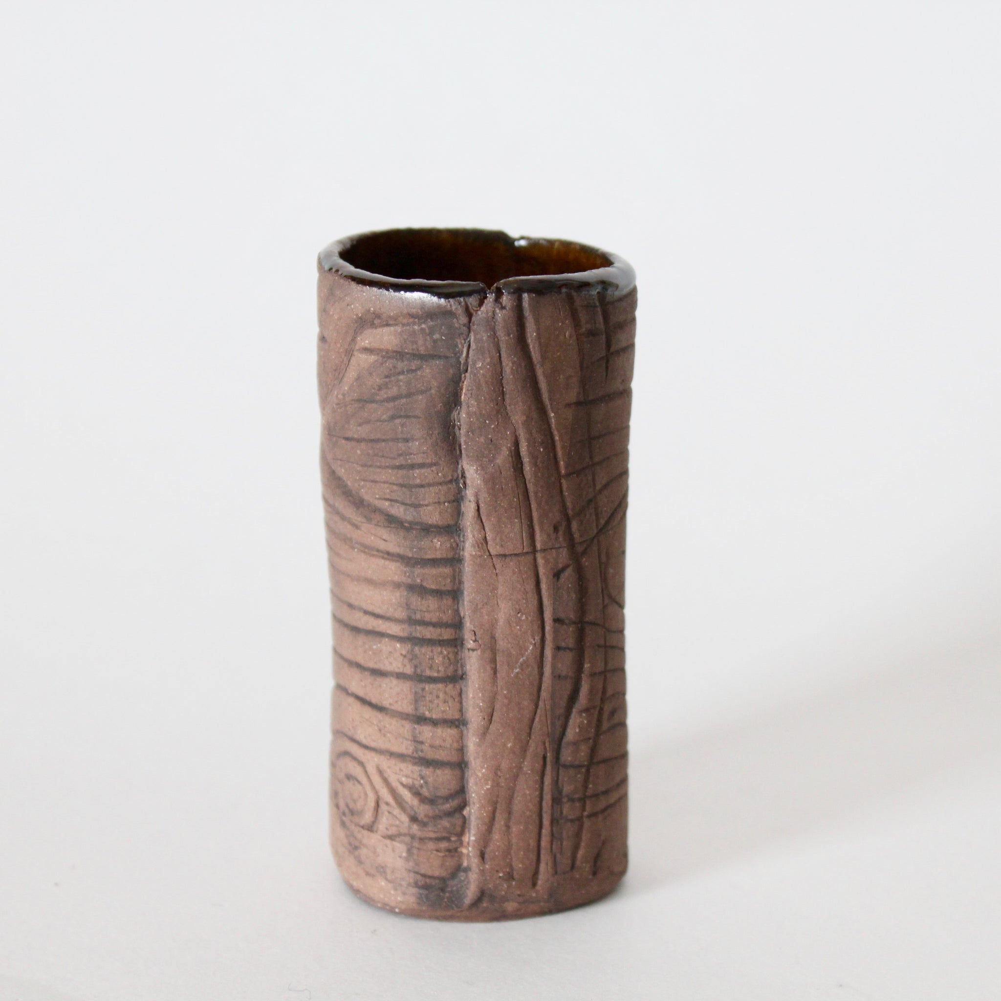 Chocolate Brown Faux Bois Bud Vase