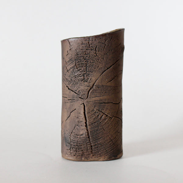 Brown Ceramic Vase with Tree Rings