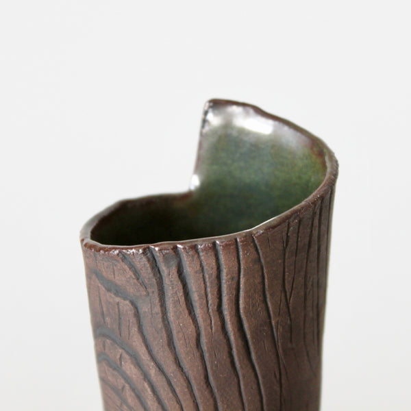 Faux Bois Ceramic Vase with Green Glaze