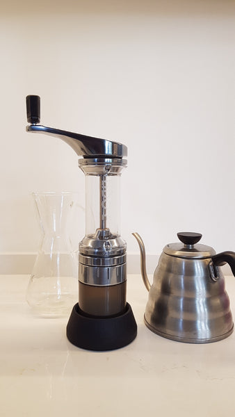 Lido E handheld grinder is great for pour over coffees