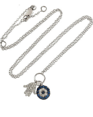 Gemstone Hamsa Evil Eye Necklace