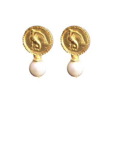 Vintage Coin Pearl Earrings