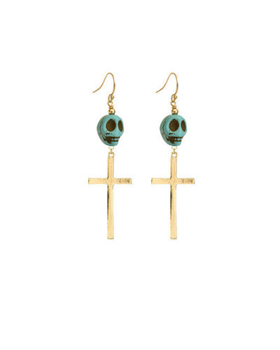 Howlite Skull Cross Earrings