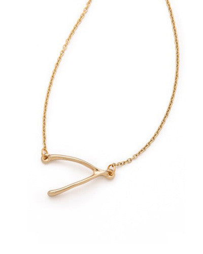 Large Sideways Wishbone Necklace