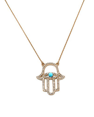 Gemstone Hamsa Necklace