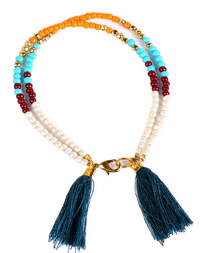 Double Tassel Beaded Friendship Bracelet