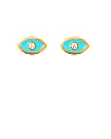 Tiny Evil Eye Diamond Studs