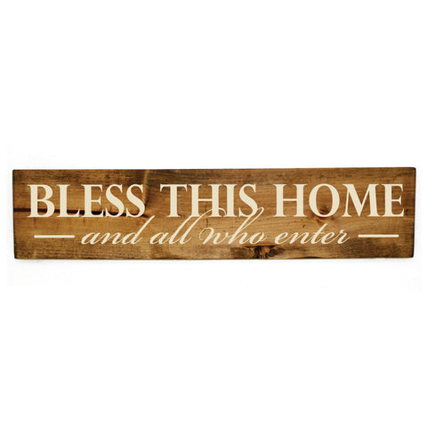 Welcome Hanging Wood Sign Bless This Home Quote Sign - lasting-expressions-vinyl