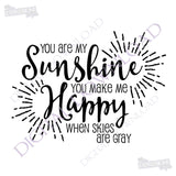 SVG Quote Design, Printable Home Decor, Saying to Print, You Are My Sunshine, Nursery Decor, Silhouette Stencil Design, Vinyl Craft Cricut - lasting-expressions-vinyl