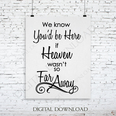 Memorial SVG Quote, Heaven Far Away Saying to Print, Wedding In Loving Memory Quote, Vinyl Design Saying, Printable Quotes, Funeral Card DIY - lasting-expressions-vinyl