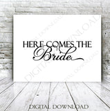 Here comes the bride - Typography Design Vector Digital Download - Ready to use Digital File, Love Quote, Instant Download svg ai pdf - lasting-expressions-vinyl