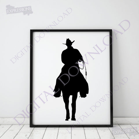 Cowboy silhouette Vector Digital Design Download - Ready to use File, Vinyl Design, png svg pdf ai, Cowboy clipart, Horse Rider, Cowgirl - lasting-expressions-vinyl