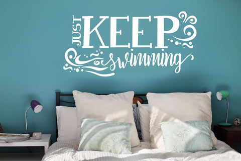 Motivational Wall Quote, Keep Swimming Design, Inspirational quotes, Bedroom Wall Decor, Movie Quote, Aquatic Ocean Nursery Kids Room Signs - lasting-expressions-vinyl