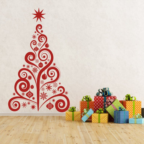 Christmas Tree Swirl Vinyl Wall Decal - lasting-expressions-vinyl