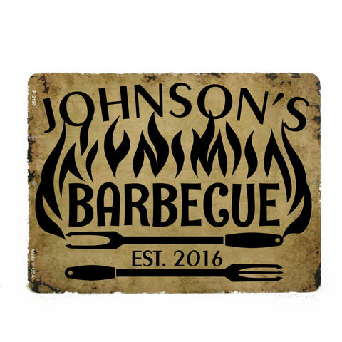 "BBQ Personalized Metal Sign 9"" x 12"" Grilling BBQ Sign - lasting-expressions-vinyl"