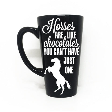 Coffee Mug Horse Saying, Horse Gift for Friend, Horses Chocolate Quote Cup - lasting-expressions-vinyl