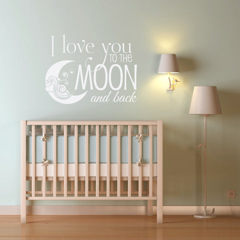 Nursery Quote for Wall Vinyl Decal Sticker, Moon and Back Saying for Wall - lasting-expressions-vinyl