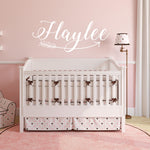 Nursery Name Vinyl Wall Decal Sign, Name Above Crib Wall Lettering, Custom Kids Name Wall Decor, Girls Woodland Nursery Arrow Custom Sign - lasting-expressions-vinyl
