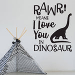 Dinosaur Wall Quote, Vinyl Wall Decal, Rawr love you, Vinyl Wall Sticker - lasting-expressions-vinyl