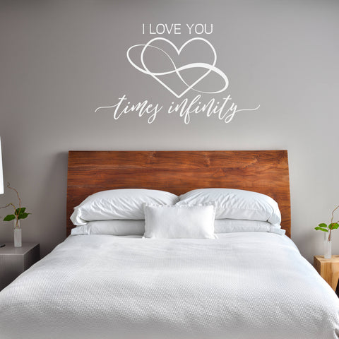 Infinity Wall Sticker Quote Lettering, I Love You Wall Sign Saying, Girls Bedroom Decor, Infinity Symbol, Wedding Gift for her, Love Decal - lasting-expressions-vinyl