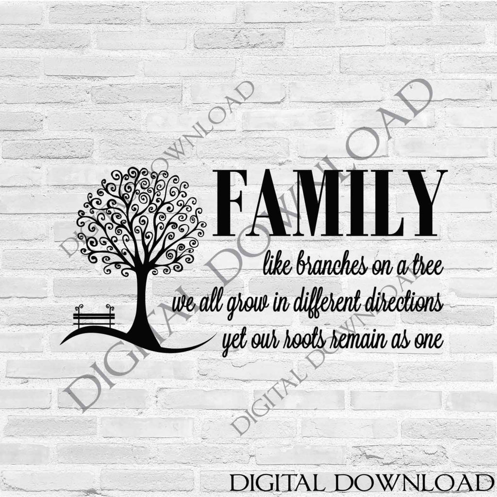 Family Tree Quote Svg Family Saying To Print Family Quote Dxf Laser Lasting Expressions