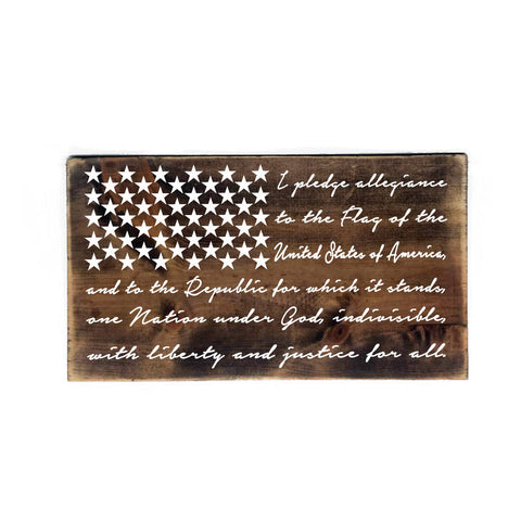 Wood American Flag Sign - Pledge of Allegiance - lasting-expressions-vinyl