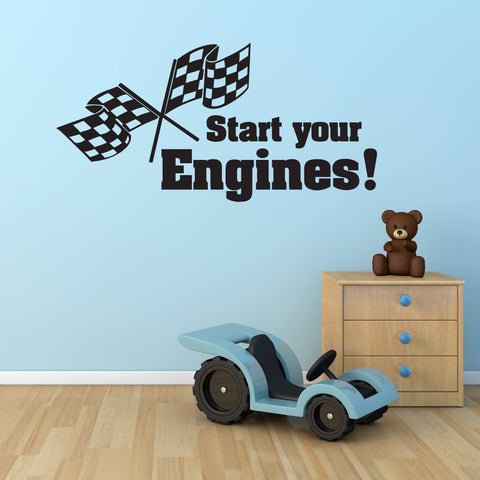 Race Car Nursery Baby Bedroom Wall Decor, Boys Bedroom Wall Decals, Vinyl Wall Lettering Quotes, Start Your Engines, Sons Car Birthday Gift - lasting-expressions-vinyl