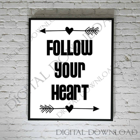 Follow your heart Arrow Design Vector Clipart - Vinyl Saying, svg ai pdf, DIY Decor, Typography Quote Print, Life Saying Print, Gift for her - lasting-expressions-vinyl