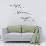 Wall Words Vinyl Decal, Joyful Patient Faithful Saying for Wall - lasting-expressions-vinyl