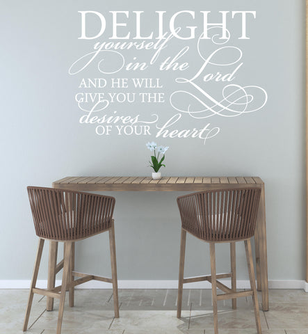 Wall Words Vinyl Decal Sticker, Delight in Lord Quote for Wall - lasting-expressions-vinyl