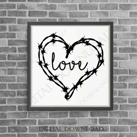 Country Wedding Decor, Love barbed wire heart Clipart Download, Typography Art Print, svg pdf, barbwire clipart, Love Saying, Country Decor - lasting-expressions-vinyl