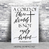 A cord of three strands not easily broken SVG Quote Clipart Vector -Typography Art, Vinyl Design Saying, SVG Saying, Home Wall Art, Print - lasting-expressions-vinyl