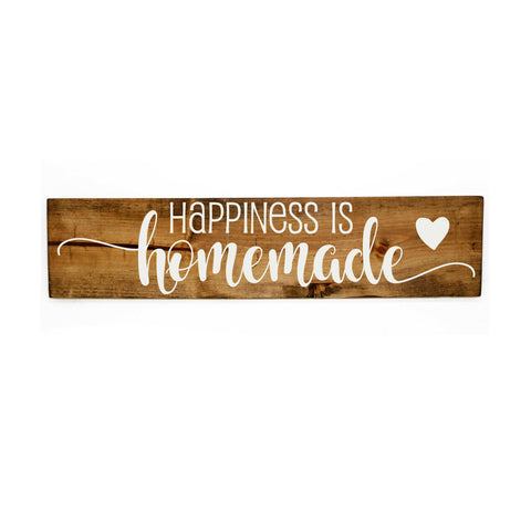 Happiness is homemade rustic wood home decor sign-  Gift for her, barn wood sign, birthday gifts, homemade quote, happiness saying sign - lasting-expressions-vinyl